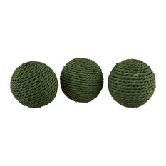 3 Piece Set of Rustic Rattan Twine Rope Design Decorative Balls 3.75 in.