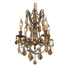 Rosalia 4-Light Chandelier, French Gold, Royal Cut Crystal, Golden Teak
