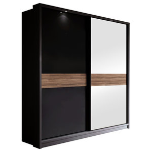 Vera 2-Door Sliding Wardrobe, Black Gloss