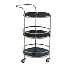 """Round Steel Bar Cart With Tinted Glass Tiers, 21""""x33"""""""