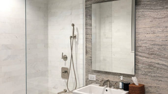 """Fixed shower panel 3/8"""" low-iron Tempered Glass"""