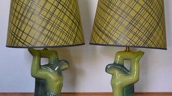 Pair Heifetz Mid Century Modern Biomorphic Ceramic Table Lamps Fiberglass Shades