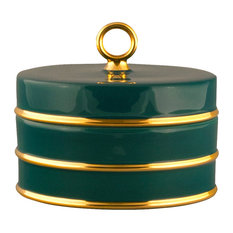 Arienne Trinket Box, Peacock & 24k Gold