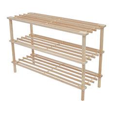 vidaXL Solid Fir Wood 2x Shoe Rack 3 Tiers Footwear Storage Shelf Unit Slatted