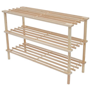 VidaXL Wooden Shoe Racks 3-Tier Shelf Storage, Set of 2