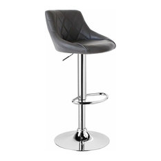 Modern Swivel Bar Stool Upholstered, Faux Leather With Chromed Footrest, Grey