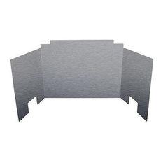 "Contemporary Three Panel Satin Stainless Steel Fyreback, 18"""