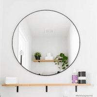 Cheyenne Framed Round Mirror, Black