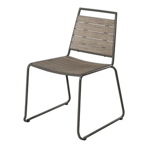 Teak and Metal Garden Dining Chairs, Set of 2