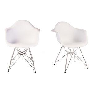 Set of 2 DAR White Mid Century Modern Dining Armchair, Steel Eiffel Legs