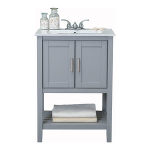 """Legion Furniture Sink Vanity Without Faucet, 24"""", Gray"""