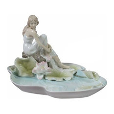 Girl Sitting By Lotus Pond Tray, Home Accent, Fine Porcelain