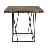 Helix Lamp Table, Brown Marble/Black Steel