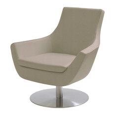 Rebecca Swivel Chair, Bone Ppm, Stainless Steel