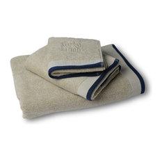- Dirty White- Dark Blue - Handdukar