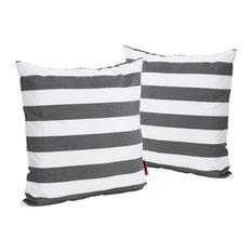GDF Studio Coronado Outdoor Stripe Square Throw Pillow, Black, Set of 2