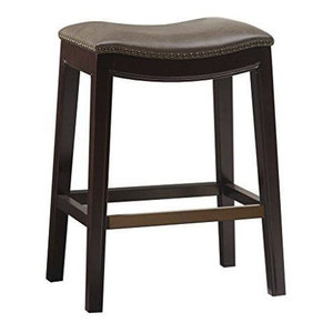 Mid Century Upholstered Backless Saddle Counter Stool Transitional