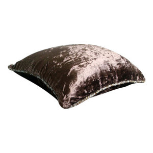 Brown Velvet 55x55 Solid Color Throw Cushions Cover, Dark Chocolate Shimmer