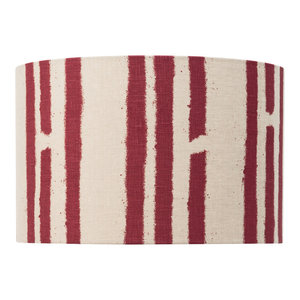 """PaperBoy Interiors """"Stripes"""" Lampshade, Stone and Red, Pendant Fitting"""