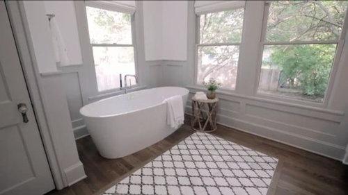Tile rug inlay for hardwood kitchen floor?