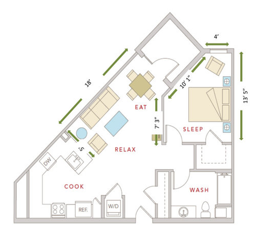 Triangle Place Apartments: Triangle Shaped Apartment (700 Sqft) Layout