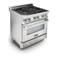 """Gas Burner/Electric Oven Range, Stainless Steel, 30"""""""