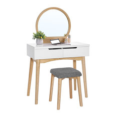 VASAGLE Vanity Set with  Mirror, Dressing Table, 2-Drawer, Natural and White, Wi