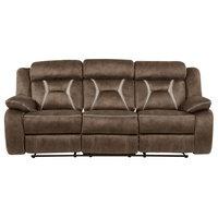 "Global Furniture Stitched Fabric Reclining Sofa 84x42x41"" Chocolate/Pecan"