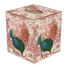 TB295-Pink Hydrangea on Rose Toile Tissue Box Cover