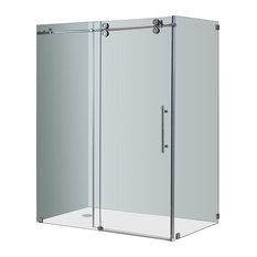 """Aston Langham Frameless Sliding Shower Enclosure, Chrome, Right Base, 60x35x75"""""""