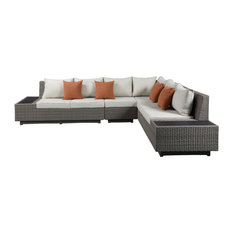 """126""""x100""""x30"""" Beige Fabric And Gray Wicker Patio Sectional And Table"""