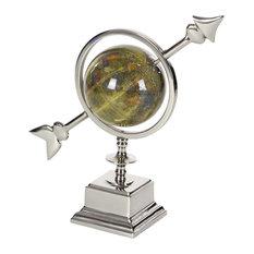 Contemporary Aluminum and PVC Arrow-Styled Globe, Green