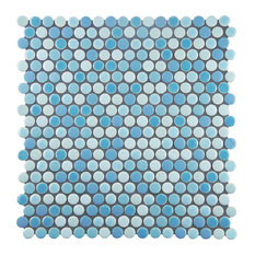 "MOD - 11.75""x11.75"" Astro Penny Mosaic Floor and Wall Tile, Pacifica Blue - Mosaic Tile"