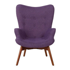 GDF Studio Acantha Mid Century Modern Retro Contour Chair, Muted Purple
