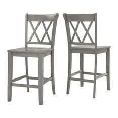 Arbor Hill X Back Counter Chair, Set of 2, Antique Grey