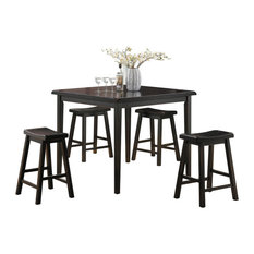 Gaucho 5-Piece Pack Counter Height Set, Black