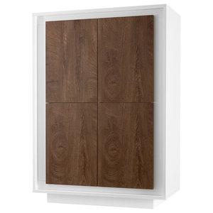 Amber III Modern Storage Cabinet, White and Oak Cognac Finish