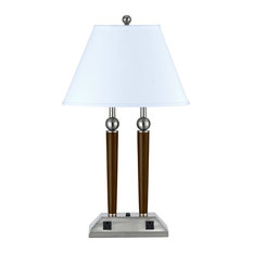 """Desk Lamp 2-Light Fixture With Brushed Steel and Espresso Metal E26 16"""" 120W"""