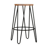 Hairpin Metal Leg Kitchen Stool, Natural Wood, Black Steel, Small