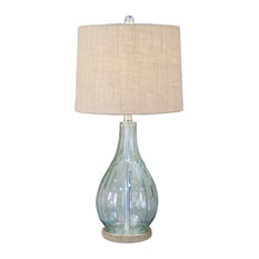 Decor Therapy - Emma Embossed Glass Table Lamp, Blue - Table Lamps