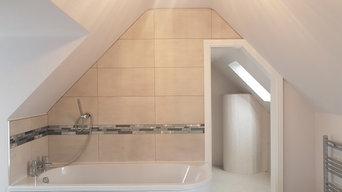 Full bathroom install with sliding pocket door walk in wardrobe