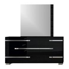 Volare 6-Drawer Double Dresser Black