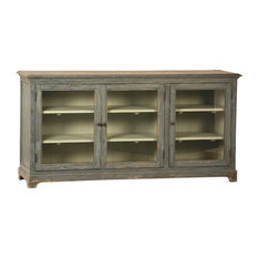Distressed Gray Wood Madrill  Glass Sideboard Cabinet