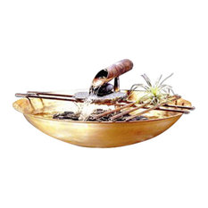 Flamed Round Copper Nature Bowl Water Fountain