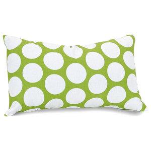 Hot Green Large Polka Dot Small Pillow 12x20