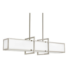 Haven 4-Light Linear Pendant, Brushed Nickel, Etched Glass