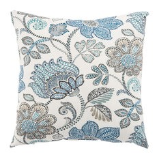 """Jaipur Living Busan Blue/White Floral Indoor/Outdoor Throw Pillow 18"""""""