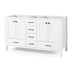 """Kayla Contemporary 72"""" Wood Bathroom Vanity, Counter Top Not Included, White"""