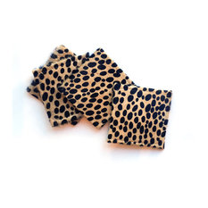 Cowhide Cheetah Coasters, Set of 4