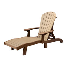 Outdoor Poly Lumber SeaAira Lounge Chair, Weathered Wood and Brown, With Arms